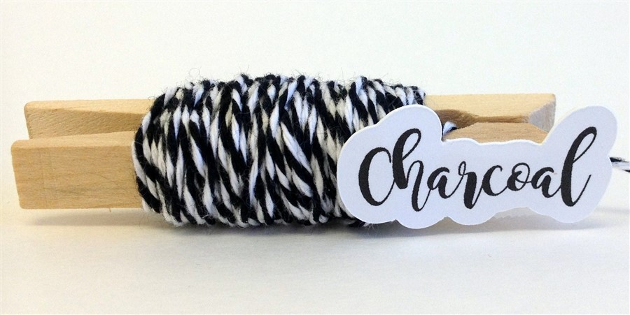 Charcoal Stripe Baker's Twine