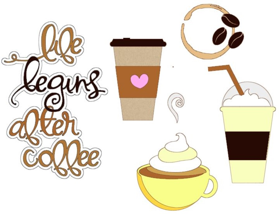 Life Begins After Coffee Cutouts CC